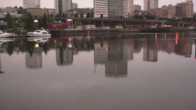 Reflections in Thea Foss Waterway in Tacoma, Washington stock footage