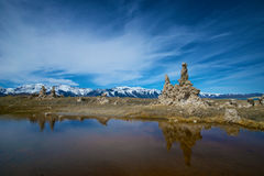 Reflections of Tufa at Mono Lake Stock Images