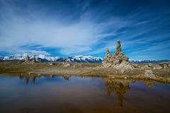 Reflections of Tufa at Mono Lake stock images