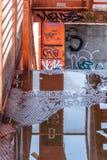 Reflections into an urban park stock photos