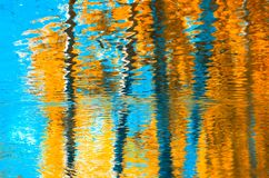 Reflections in the water, abstract autumn background.  Royalty Free Stock Photography