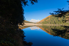 Reflections on water, autumn panorama from mountain lake Stock Photography