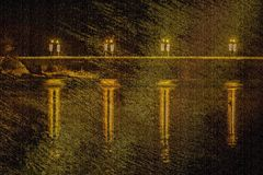 REFLECTIONS ON WATER FROM BRIDGE LIGHTS Stock Photos