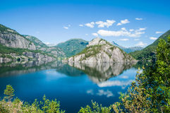 Reflections in the water of a fjord in Norway.  Stock Photos