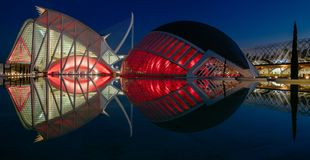 Reflections in water after sunset in city of art and science. Valencia, Spain Royalty Free Stock Photos