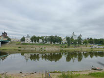 Reflections in water. Yaroslavl Kremlin and trees. Royalty Free Stock Photography