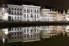 Reflections of white buildings in a canal in Ghent Stock Image