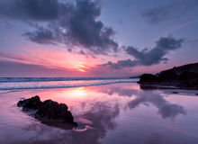 Reflections on Whitsand Bay, Cornwall, UK Royalty Free Stock Photos