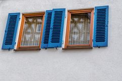 Reflections in the window in Olld town Leonberg, Germany. stock photography