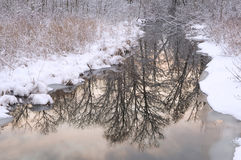 Reflections Winter Creek Royalty Free Stock Photos
