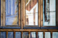 Reflections on a wooden window Royalty Free Stock Images