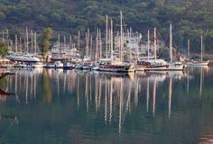 Reflections of yachts at Marmaris on a beautiful summer evening stock photography