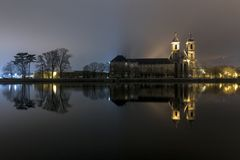 The reflective abbey stock photography