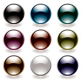 Reflective black button Stock Photography