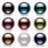 Reflective black button star Stock Photo