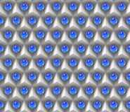 Reflective blue spheres on an array of white cubes (seamless). Seamless 3d pattern of reflective blue spheres over an array of white cubes Stock Photo