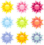 Reflective flower icons Royalty Free Stock Photography