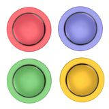 Reflective four button with stripes set. Isolated reflective four button with stripes set Royalty Free Stock Photography