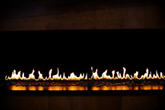Reflective gas fireplace Stock Photo