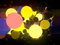Multicolored luminous glowing balls on black background. 3d rendering. Reflective glowing balls on black background. Abstract composition of a large number of Royalty Free Illustration