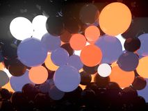 Multicolored luminous glowing balls on black background. 3d rendering. Reflective glowing balls on black background. Abstract composition of a large number of vector illustration