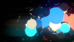 Multicolored luminous glowing balls on black background. 3d rendering. Reflective glowing balls on black background. Abstract composition of a large number of stock illustration