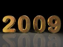 Reflective Golden 2009. 2009 gold numerals sitting on a reflective surface against a black background Stock Illustration