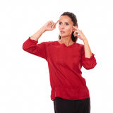 Reflective latin girl with wondering gesture Royalty Free Stock Photos