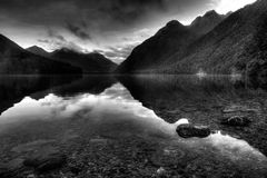 Reflective Mountain Landscape Surrounding Lake Gunn Royalty Free Stock Images