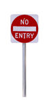 Reflective No Entry Sign. Isolated on White - Australian Royalty Free Stock Photos