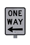 Reflective One Way Sign, isolated on white Stock Image