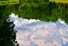 Reflective pond. Sky and trees reflecting off of a still pond Stock Images
