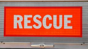 Reflective Rescue Sign. With bright red background Stock Photography