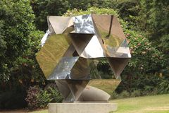 Reflective sculpture in Brisbane botanical gardens royalty free stock images