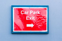 Reflective sign for 'Car Park Exit' Royalty Free Stock Photography