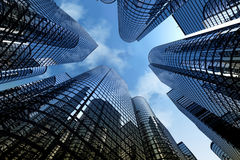 Reflective skyscrapers, business office buildings. Stock Photo