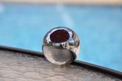 Reflective mirror sphere stock image