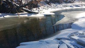 Reflective stream. Winter morning at the water Royalty Free Stock Photos
