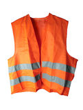 Reflective vest. Orange reflective vest isolated on the white background Stock Photos