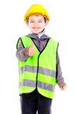 Reflective vest. Little boy with reflective vest isolated in white Stock Photo