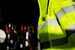 Reflective vest. Vest for road safety. It is mandatory for motorists.Vests are effective at night. It reflects light from car headlights Stock Photo
