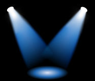 Reflector. Blue stage lights in black background, vector illustration Stock Photography
