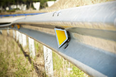 Reflector of a guardrail Stock Photo