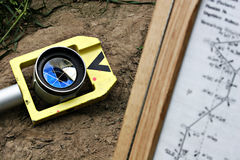 Reflector and map for cadastral survey Royalty Free Stock Images