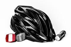 Reflectores del casco de la bici y seguridad ligera Fotos de archivo libres de regalías