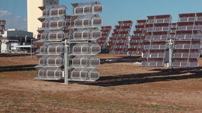 Reflectors of solar power station. Close up stock footage