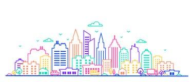 reflekterad flod för stadskremlin liggande natt Tunn linje stadslandskap i livliga färger för neonglöd I stadens centrum landskap royaltyfri illustrationer