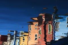 Reflekterade Burano Arkivbild
