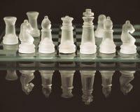 Reflekterade schackstycken Royaltyfria Bilder