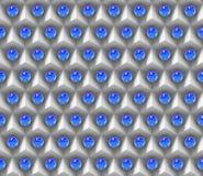Reflekterande blåa sfärer på en samling av (sömlösa) vita kuber, Arkivfoto